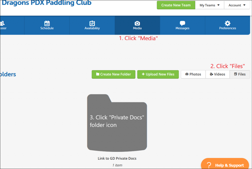 screenshot of TeamSnap